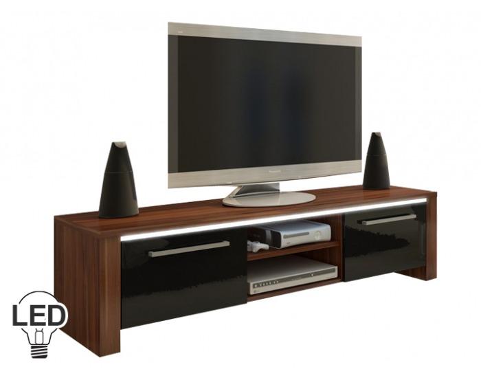 TV stolík Helix - slivka / čierny vysoký lesk