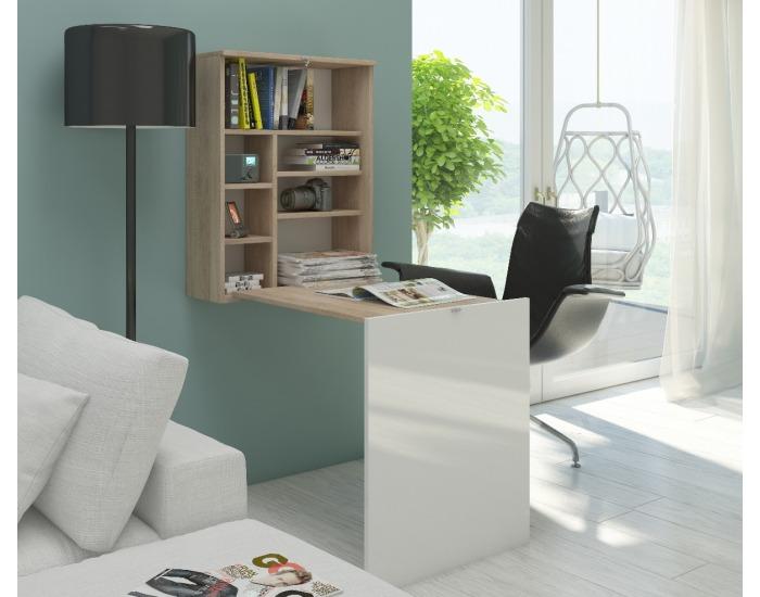 Rozkladací písací stolík s regálom Hide - sonoma svetlá / biely lesk