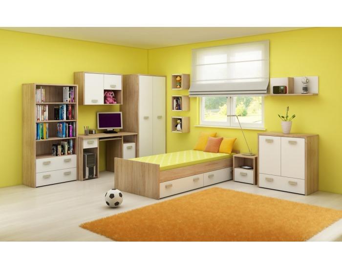 Rozkladacia posteľ s roštom Kitty KIT-07 - sonoma svetlá / biela