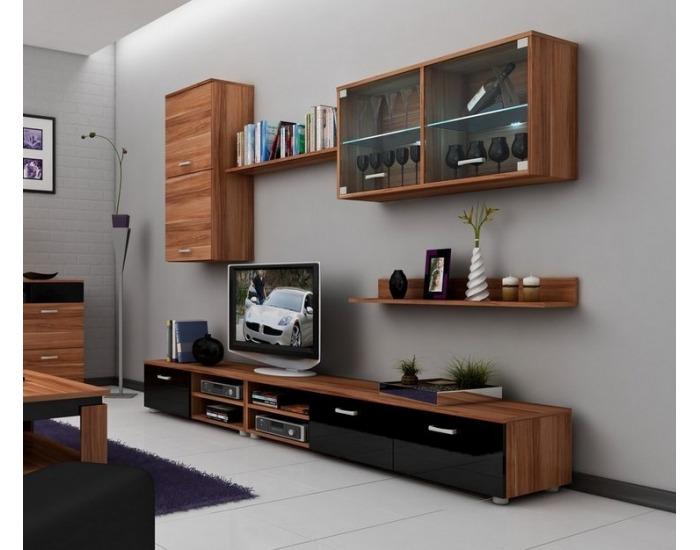 Obývacia stena Magic - slivka / čierny vysoký lesk