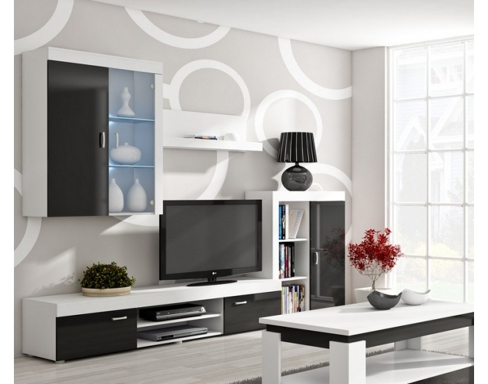 Obývacia stena Mamba - biely mat / čierny lesk