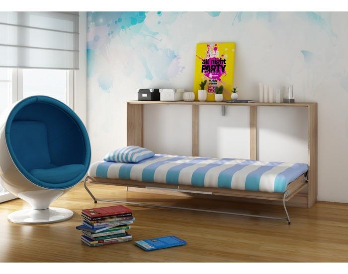 Výklopná posteľ s roštom Roger - sonoma svetlá / biela