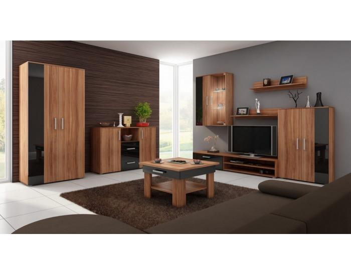 Obývacia izba Stella - slivka / čierny vysoký lesk