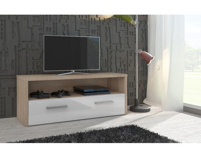 TV stolík Tirana - sonoma svetlá / biely vysoký lesk