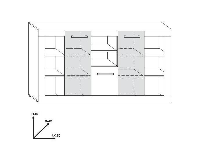 Obývacia izba Viki - sonoma svetlá / biely vysoký lesk