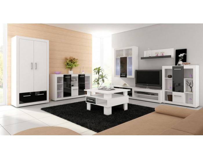 Obývacia stena Viki - biely mat / čierny vysoký lesk