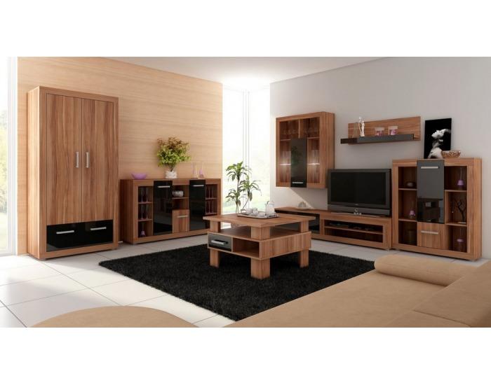 Obývacia izba Viki - slivka / čierny vysoký lesk