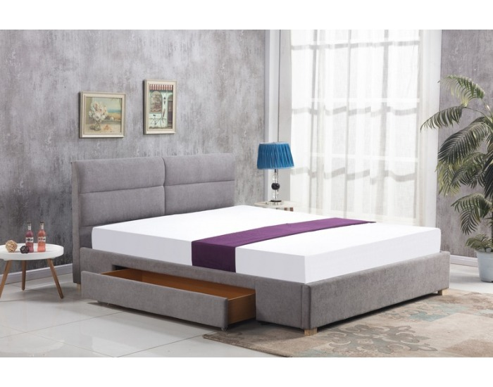 Čalúnená manželská posteľ s roštom Merida 160 - svetlosivá