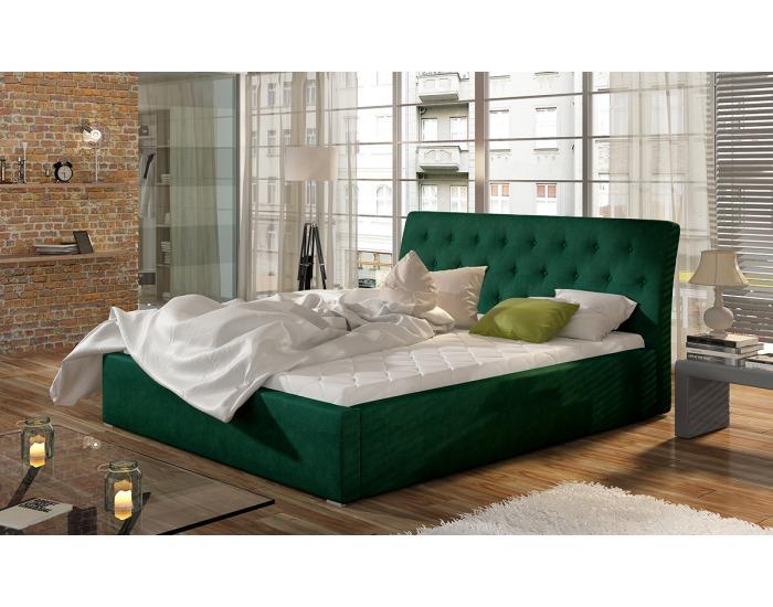 Čalúnená manželská posteľ s roštom Monzo 160 - tmavozelená