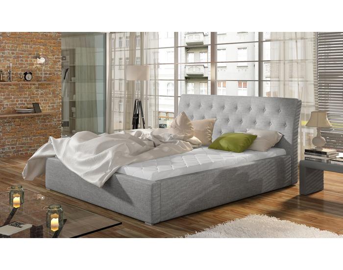 Čalúnená manželská posteľ s roštom Monzo UP 180 - svetlosivá (Sawana 21)