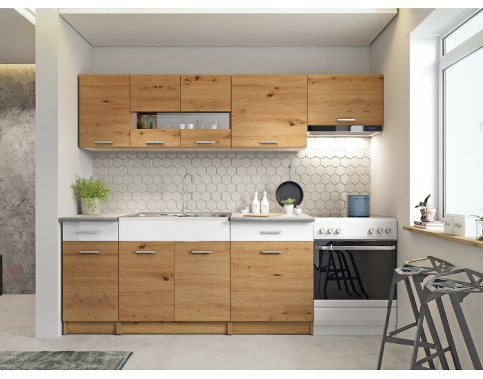 Kuchyňa Ariette 240 - dub artisan / biely lesk