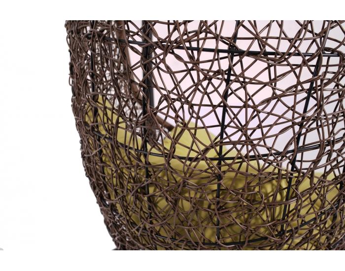 Závesné hojdacie kreslo Bahamas - hnedý ratan / zelená poduška