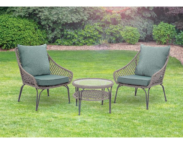 Záhradný set z umelého ratanu Duetto - hnedosivá / zelená