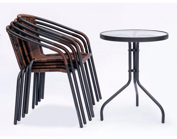 Záhradná stolička Herkules VIP - čierna / hnedá