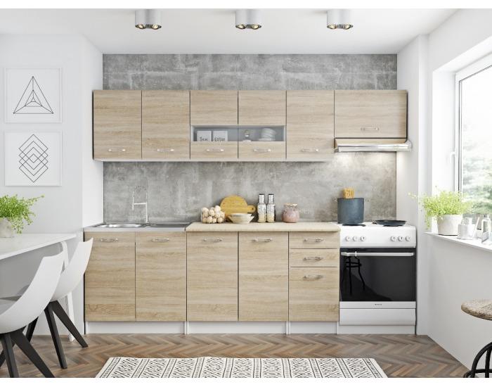 Kuchyňa Pescara 260 - biela / dub sonoma