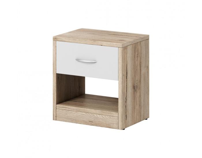 Nočný stolík Naka 1S - dub san remo / biela