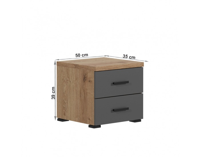 Nočný stolík Utah - dub grandson zlatý / uni sivá