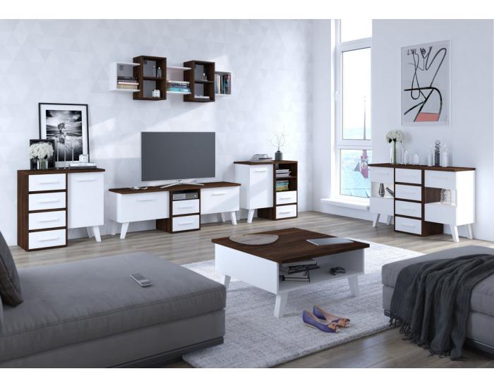 Obývacia izba Nordis - sonoma tmavá / biela