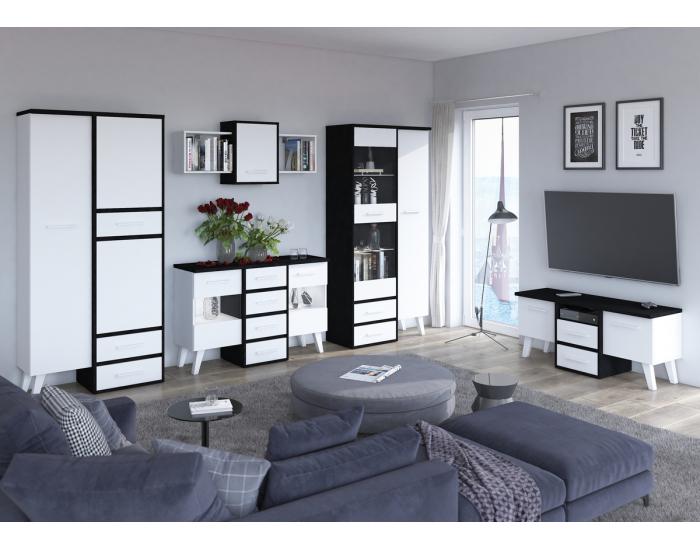 Obývacia izba Nordis - čierna / biela