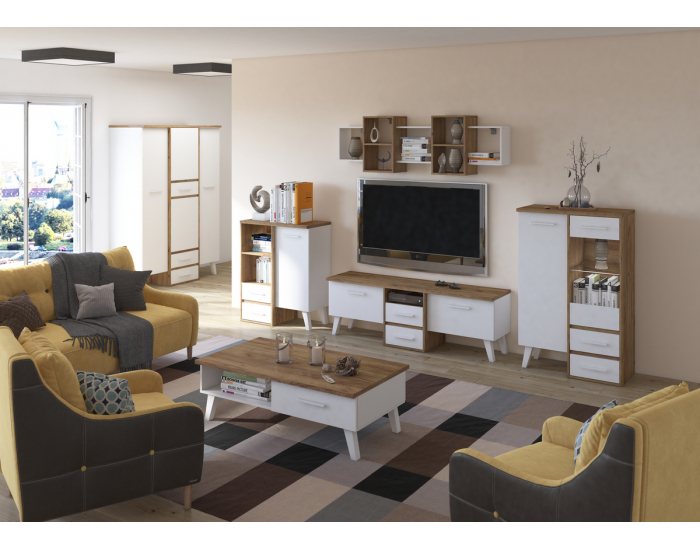 Obývacia izba Nordis - craft zlatý / biela
