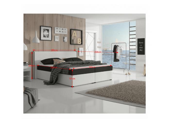 Čalúnená manželská posteľ s matracmi Novara 160 - biela / čierna (megakomfort visco)