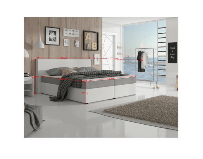 Čalúnená manželská posteľ s matracmi Novara 180 - biela / sivá (megakomfort visco)