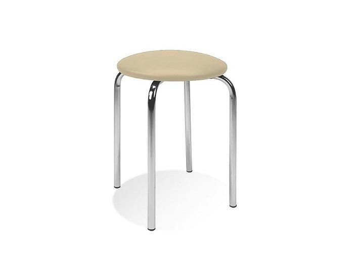 Stolička bez operadla Chico - chróm / béžová látka (C4)