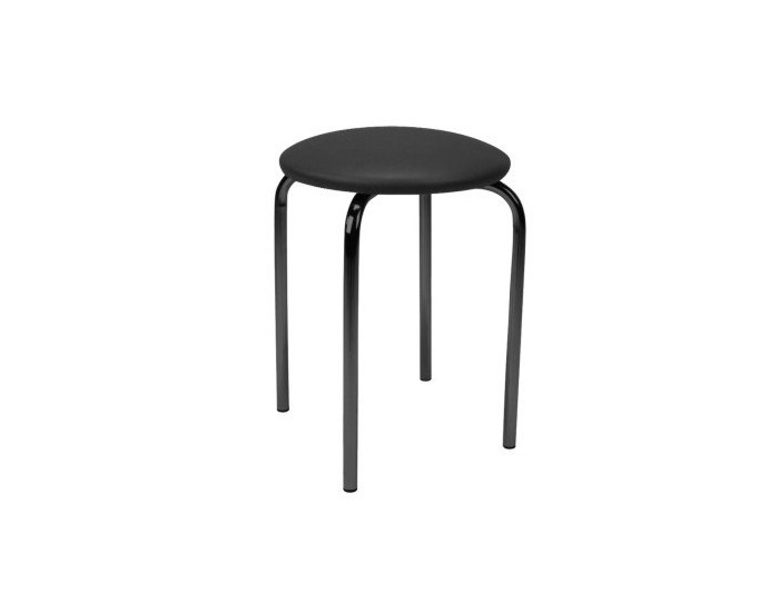 Stolička bez operadla Chico - chróm / čierna ekokoža (V04)