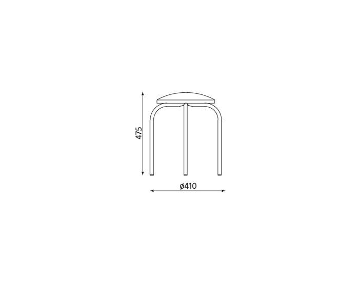 Stolička bez operadla Chico - chróm / krémová ekokoža (V18N)