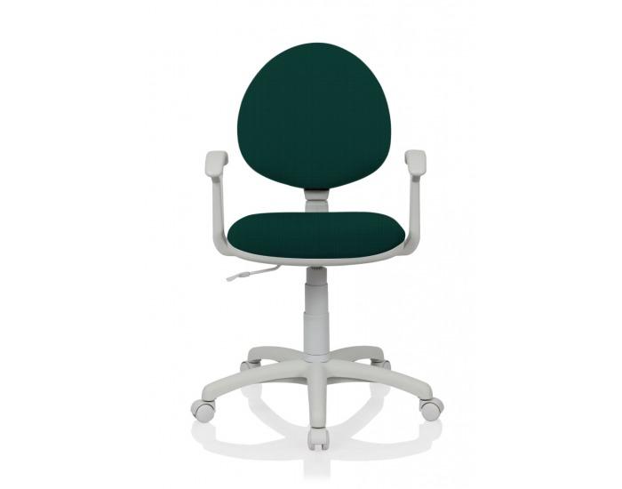 Detská stolička na kolieskach s podrúčkami Smart White - zelená látka (C32)