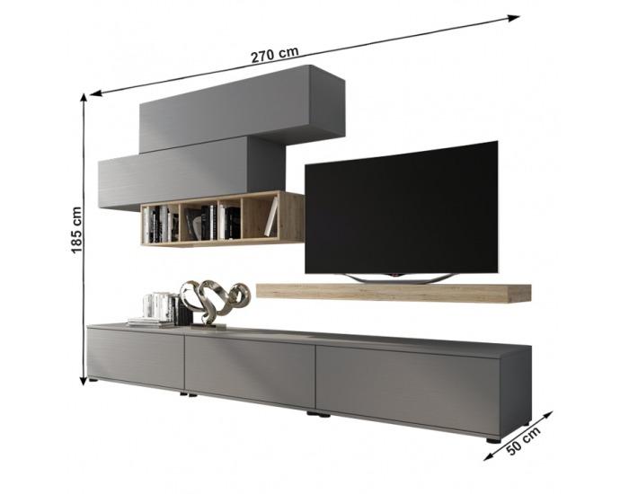 Obývacia stena Korfu - sivá / dub san remo