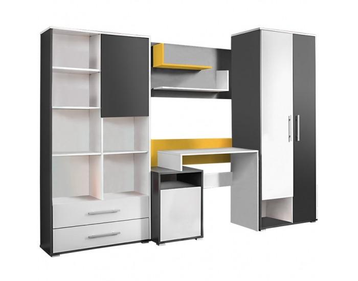 Obývacia stena Masimo - antracit / biela / žltá