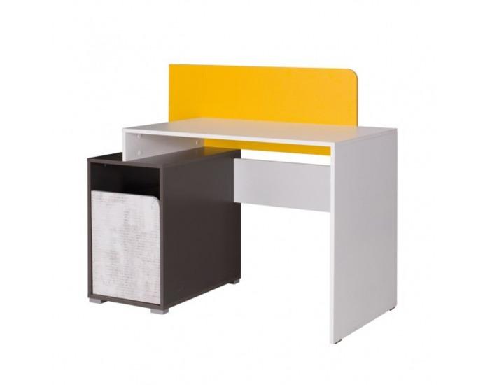 PC stôl Matel B8 - biela / sivý grafit / enigma / žltá