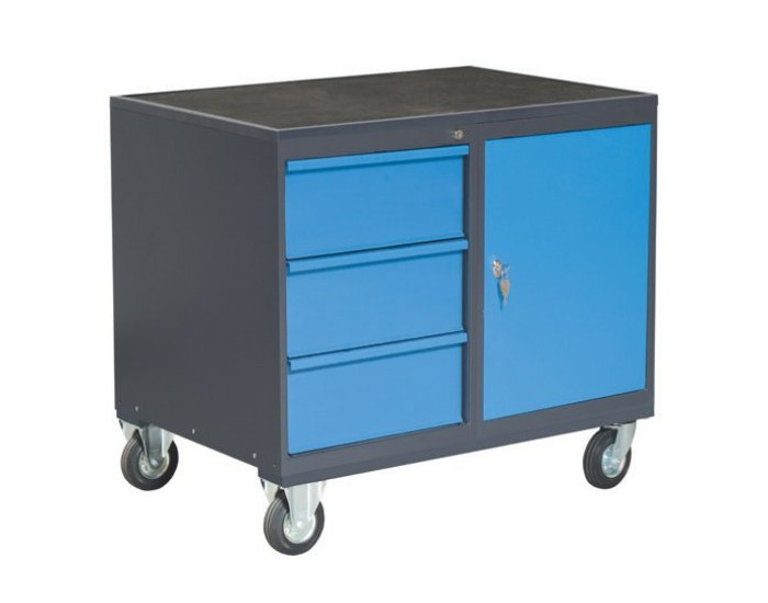 Dielenský vozík na kolieskach so zámkom PLW01G/P8P1 - grafit / modrá