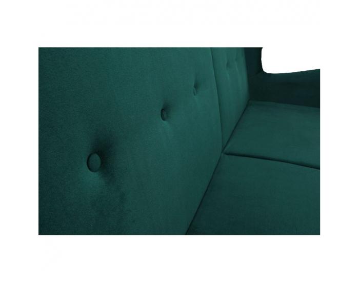Rozkladacia pohovka s úložným priestorom Columbus - zelená / orech