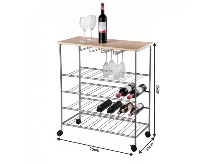 Pojazdný stojan na víno Groby - prírodná / strieborná