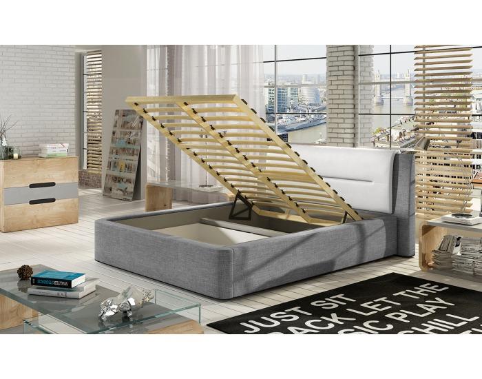Čalúnená manželská posteľ Portima 160 - čierna / sivá