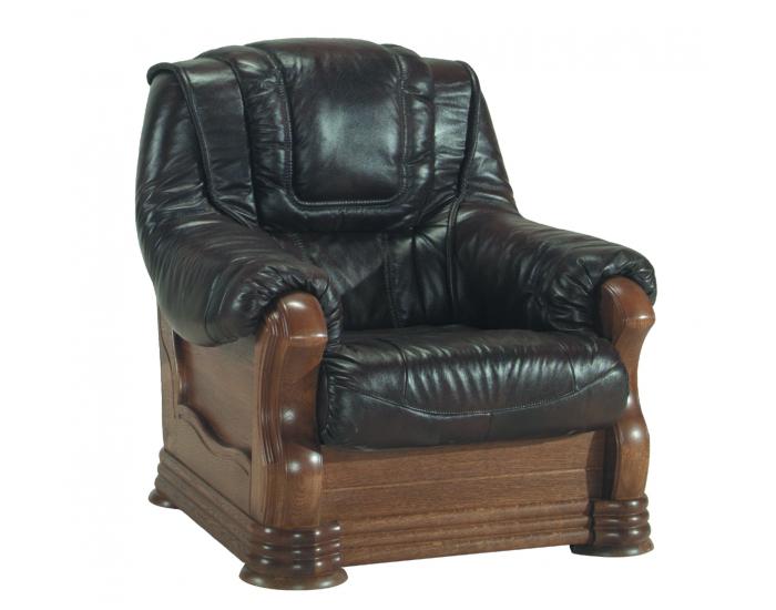 Kožená sedacia súprava Aneta II - drevo D3 / tmavohnedá (Antyk S50)