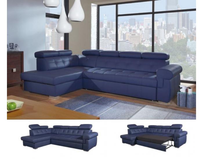 Kožená rohová sedačka s rozkladom Atlanta L - modrá koža