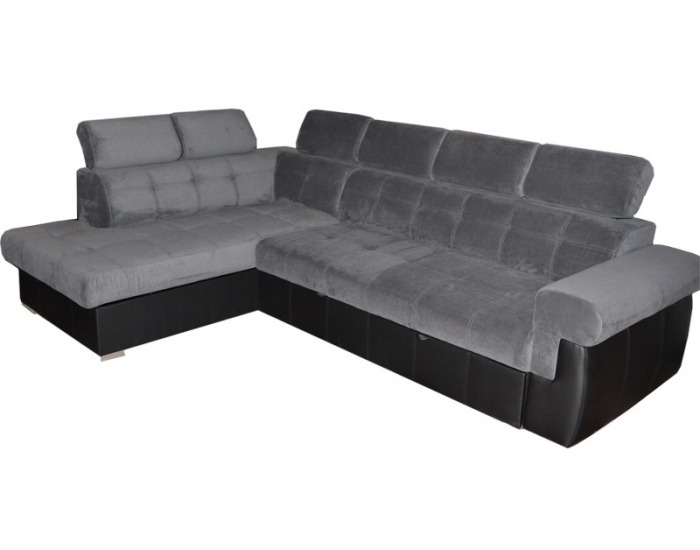 Rohová sedačka s rozkladom a úložným priestorom Atlanta L - sivá látka / čierna ekokoža