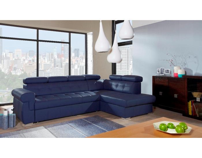 Kožená rohová sedačka s rozkladom Atlanta P - modrá koža