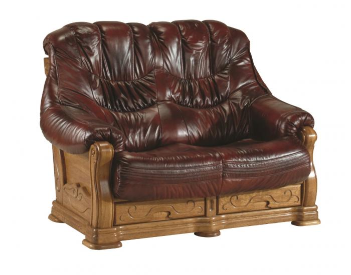 Kožená sedacia súprava Kevin - drevo D3 / tmavohnedá (Antyk S43)