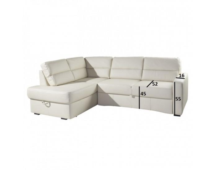 Kožená rohová sedačka s rozkladom Modern L - koža S21