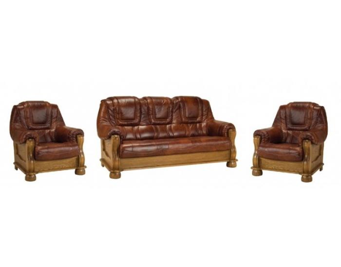 5ad7837579 Kožená sedacia súprava s rozkladom Roma 3R+1+1 - drevo D3   koža ...