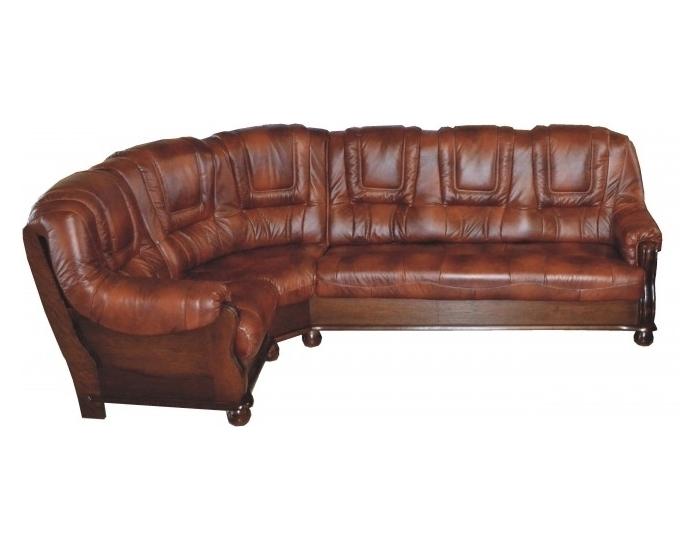Kožená rohová sedačka Roma L - drevo D3 / koža S42