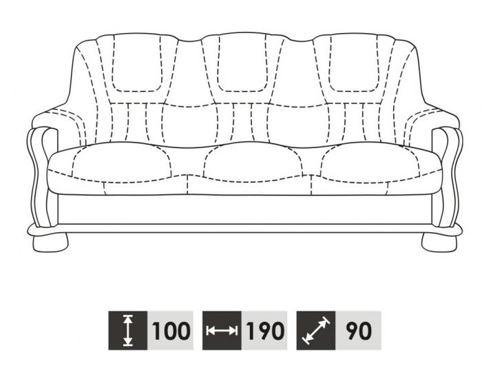 Kožená sedacia súprava s rozkladom Roma 3R+2+1 - drevo D3 / koža S42