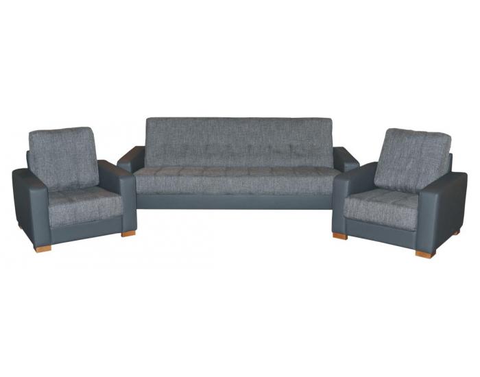 Rozkladacia sedacia súprava Vegas 3R+1+1 - látka Magma Gray / šedá ekokoža