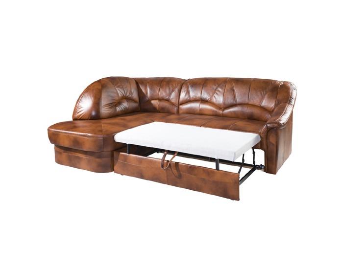 Kožená rohová sedačka s rozkladom Yardek L - koža S42