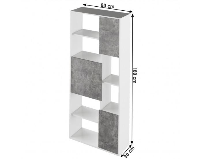 Regál Ulimi - biela / betón