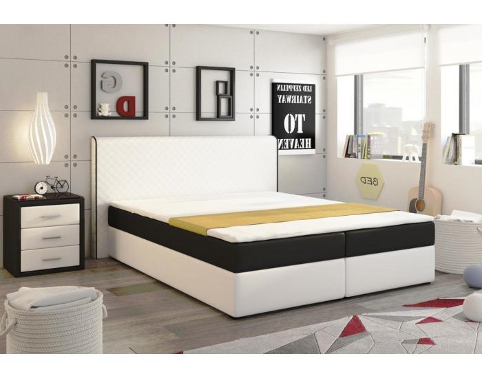 Čalúnená manželská posteľ s matracmi Bergamo 180 - biela / čierna (megacomfort)